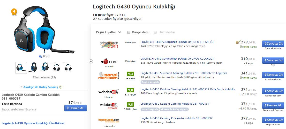 logitech g430 türkiye fiyatları